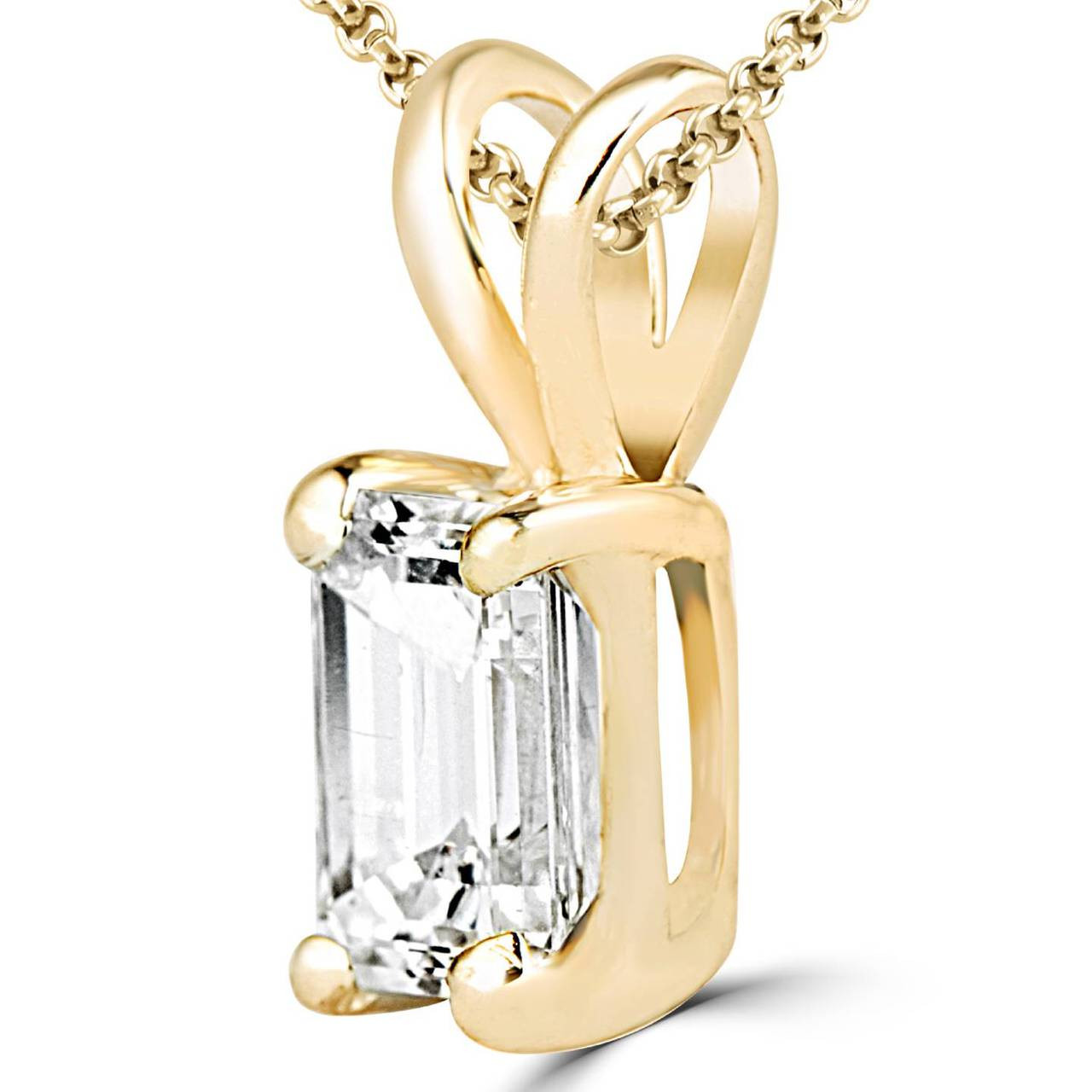 Emerald diamond pendant necklace bijoux majesty emerald cut diamond solitaire 4 prong pendant necklace with chain in yellow gold aloadofball Choice Image
