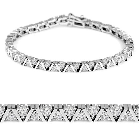 Round Cut Diamond 3-Prong Classic Tennis Bracelet in White Gold - #B623-W
