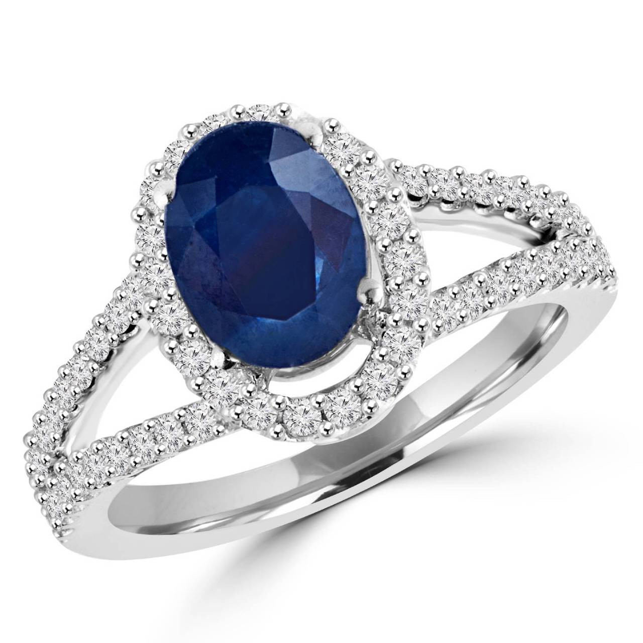 blue product white cocktail ring wire open basket gold style sapphire