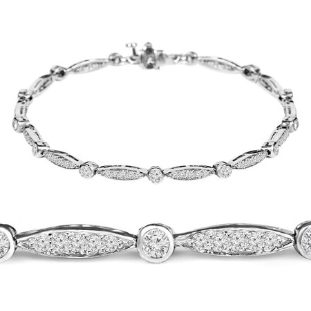 Round Cut Diamond Shared-Prong Fashion Tennis Bracelet in White Gold - #B1741-W