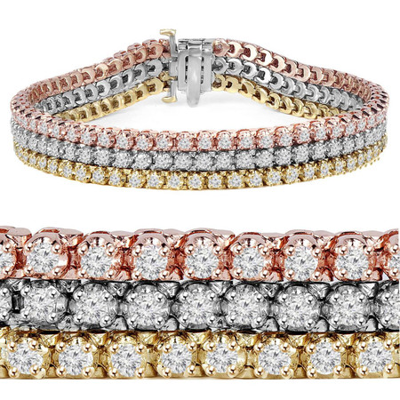 Round Cut Diamond 4-Prong Tennis Bracelet in White Gold, Yellow Gold, & Rose Gold - #B2933-W-Y-R