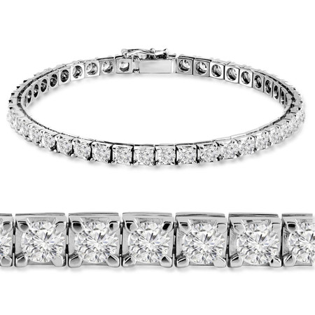 Round Cut Diamond Multi-Stone 4-Prong Tennis Bracelet in White Gold - #RB-3422-W
