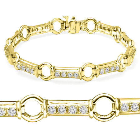 Round Cut Diamond 4-Prong Fashion Tennis Bracelet in Yellow Gold - #B1280-Y