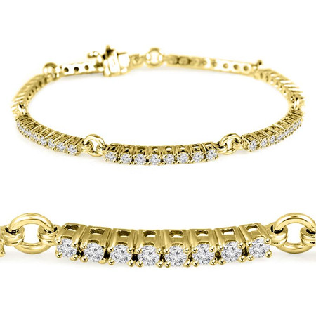 Round Cut Diamond 4-Prong 3-Row Tennis Bracelet in Yellow Gold - #B2260-Y