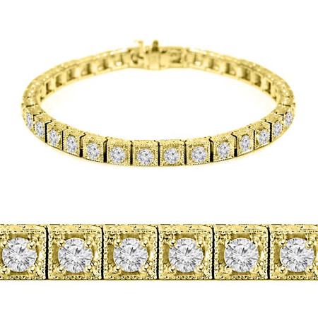 Round Cut Diamond Multi-Stone 4-Prong Vintage Fashion Tennis Bracelet in Yellow Gold - #MIR-B-1859-Y