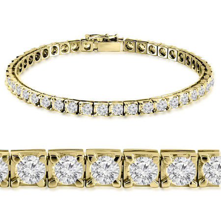 Round Cut Diamond Multi-Stone 4-Prong Tennis Bracelet in Yellow Gold - #RB-3422-Y