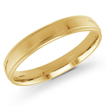 Mens 3 MM milgrain edge dome comfort fit yellow gold band - #J-103-310G