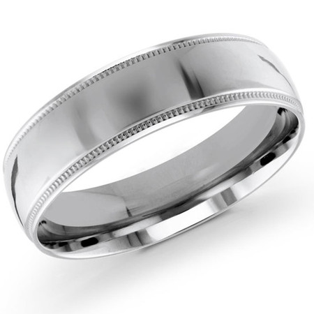 Mens 6 MM milgrain edge dome comfort fit white gold band - #J-103-620G