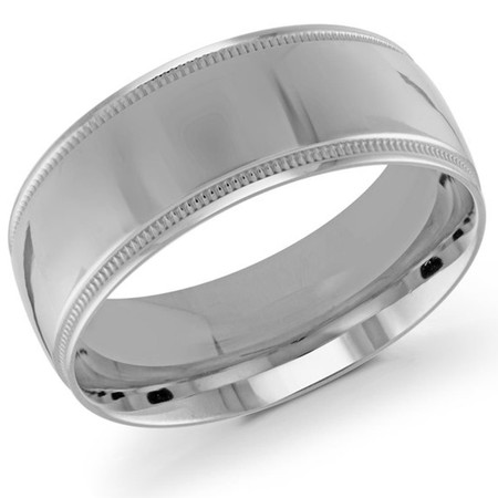 Mens 9 MM milgrain edge dome comfort fit white gold band - #J-103-920G