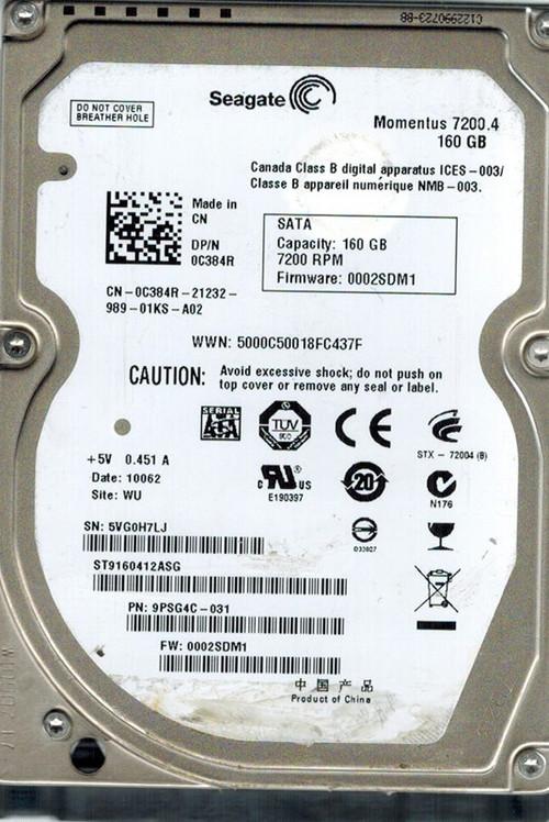 "160GB Seagate Barracuda 7200RPM 16MB 2.5"" SATA Hard Drive ST9160412ASG"