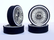 1/18 Scale PLAYAZ Rim & LOW PRO Whitewall Tire Set CHROME