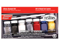 7 Pc Testors Enamel Paint Jar Set W/Brush
