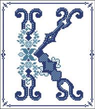 Decorative Blue Alphabet K