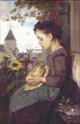 A Girl Seated Outside a House with Sunflowers