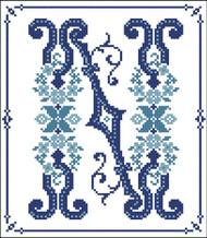 Decorative Blue Alphabet N