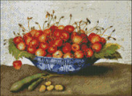 Chinese Plate with Cherries and Bean Pods