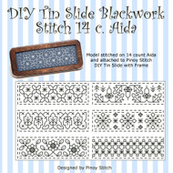 DIY Tin Slide Blackwork Stitch 14c. Aida