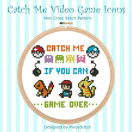 Catch Me Video Game Icons Cross Stitch Pattern