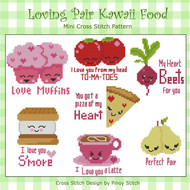 Loving Pair Kawaii Cute Food Collection PDF Cross Stitch Pattern