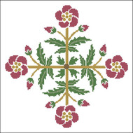 Floral Ornamental #069 Gold & Red Blooms