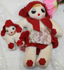 Red Felt Sock Mommy & Me Rag Toy Doll Vintage Mid Century 1940s Folk Art Gift