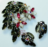 Black Satin Rhinestone Brooch & Earrings Demi Parure Vintage Mid Century 1960s Fashion Jewelry Gift