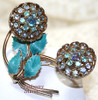 Blue Rhinestone 3D Enameled Brooch on Gold Vintage Mid Century 1960s Fashion Jewelry Gift