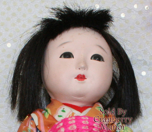 Ichimatsu Gofun Ningyo Kawaii Composition Toy Doll from Japan w/Original Silk Kimono Vintage 1930s Japanese Designer Geisha Girl