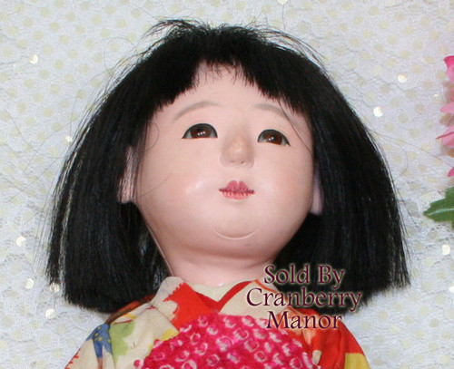 Ichimatsu Gofun Ningyo Kawaii Signed Composition Toy Doll from Japan w/Original Silk Kimono Vintage 1930s Japanese Designer Geisha Girl