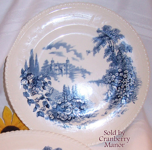 Castle on the Lake Blue & White Dinner Plate by Johnson Bros England Vintage Mid Century 1950s English Designer Stoneware Gift