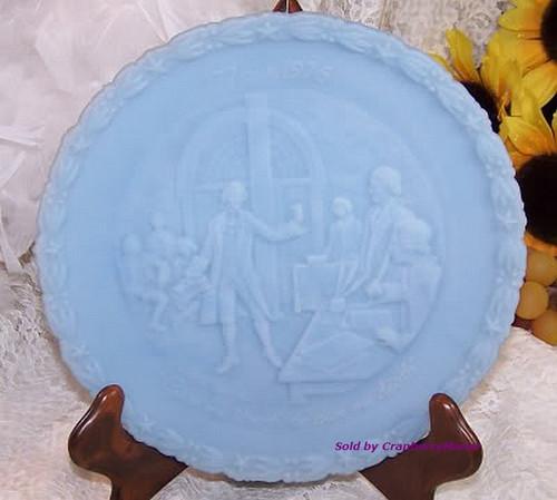 Fenton Art Glass Blue Satin Bicentennial Commemorative Plate #1 Patriotic 4th of July Dish Vintage 1970s American Designer Gift