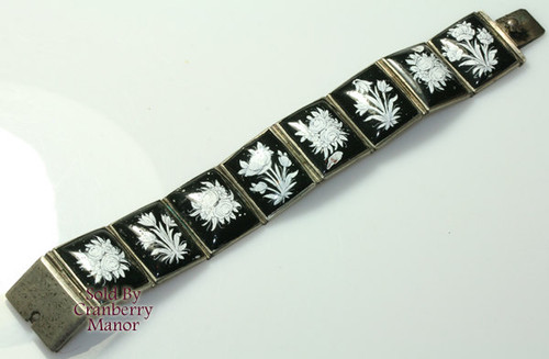 Black & White 8 Panel Enameled Flower Persian Bracelet on Silver Vintage 1930s Exotic Hand Painted Fashion Jewelry Gift