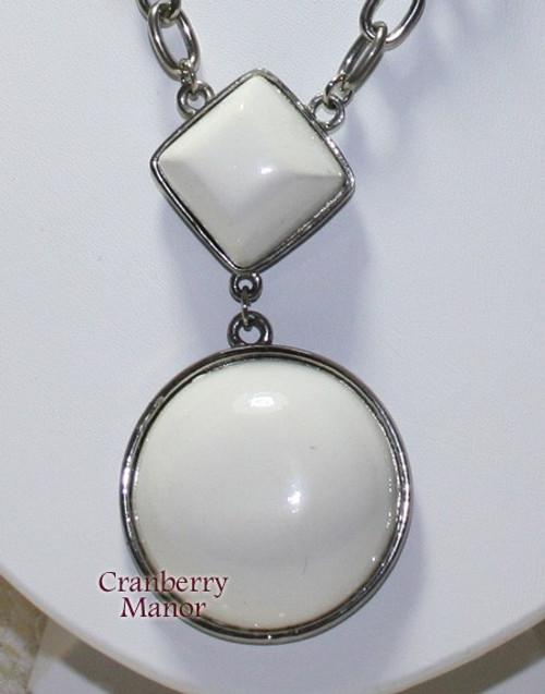 Kramer White Modernist Geometric Pendant Necklace Vintage Mid Century 1940s Designer Fashion Jewelry Gift