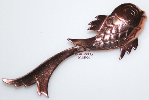 Matisse Renoir Copper Goldfish Koi Brooch Vintage Mid Century 1950s Designer Fashion Jewelry Gift