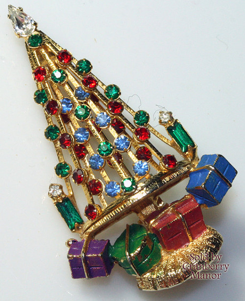 Warner Rhinestone Christmas Tree Brooch w/ Presents Vintage Mid Century1950s Fashion Designer Jewelry Gift