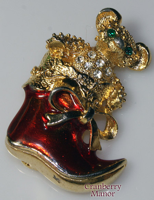 Christmas Bear in a Stocking or Santa Claus Boot Rhinestone Brooch by Avante Vintage 1970s Designer Jewelry Gift