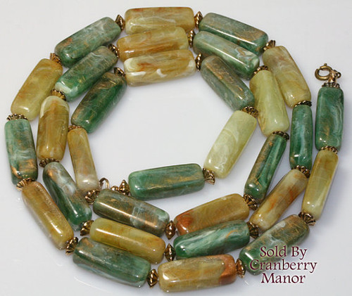 Marbled Beaded Necklace St. Patrick's Day Vintage Fashion Jewelry Gift
