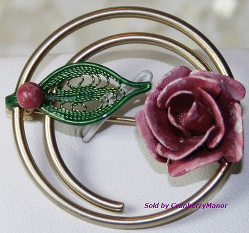 Enameled Rose & Filigree Brooch Vintage Fashion Jewelry Gift