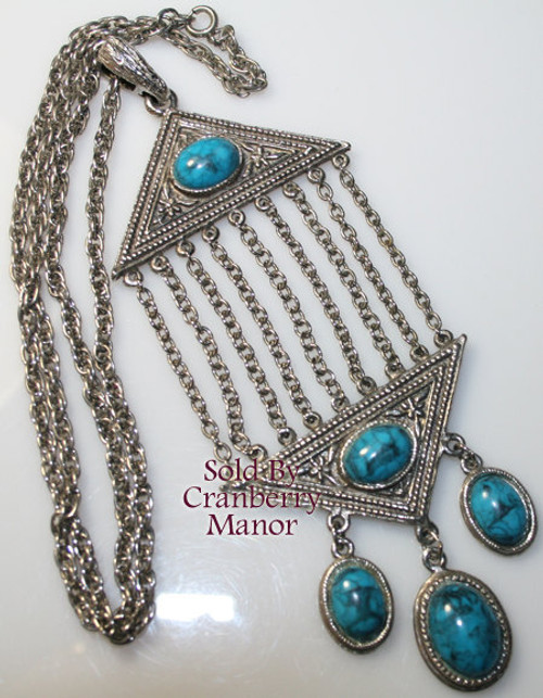 Greek Revival Medallion Pendant Necklace Vintage Fashion Jewelry Gift