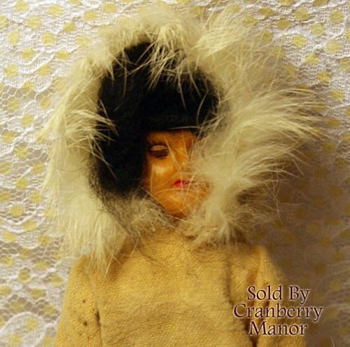 Native Eskimo Inuit Hard Plastic Sleepy Eyed Toy Doll from Hong Kong China Vintage Mid Century 1950s Chinese Designer Gift