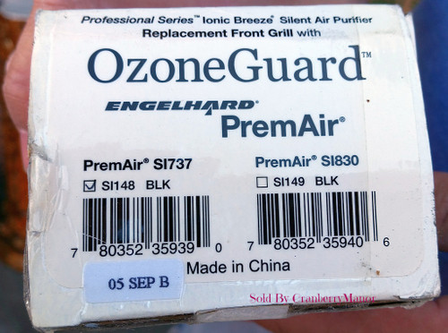 Sharper Image Ionic Breeze Air Purifier Replacement Front Grill with OzoneGuard Engelhard PremAir SI148 Black (Ozone Guard Prem Air, Professional Series)