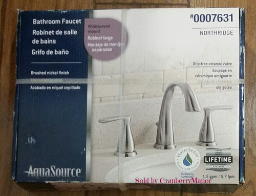 AquaSource Brushed Nickel 2-Handle Widespread WaterSense Bathroom Faucet, Item # 7631