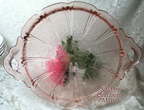 Pink Depression Glass Cake Plate In Cherry Blossom By