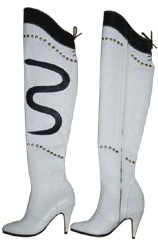 White Leather knee high boots