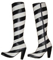 Black and white knee high boots