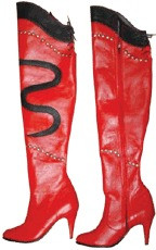 Red Leather knee high boots 2