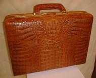 Brown Hornback Crocodile Briefcase