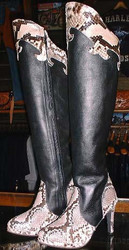 Snake and Leather Tall Hligh Heel Boots