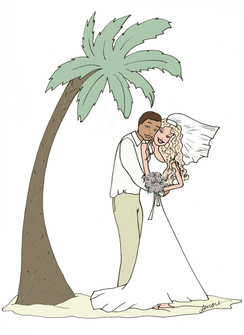 Interracial Tropical Bridal cards