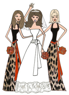 Bride with 2 Bridesmaids in animal print cards